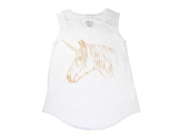 Unicorn Women's Shirt - XLarge Hand Screen Printed Ladies Cap - Muscle Tee