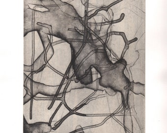 "Abstract Etching . Art Print . Black, White + Tan: ""Converge"". Print Size 12"" x 14"" . Unframed"