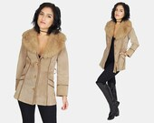 PENNY LANE Tan Suede LEATHER Jacket Vtg 70's Fur Trimmed Collar Longline Fitted Coat Long Sleeve Hippie Boho Bohemian - Medium/Large