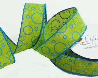 Lime Green Ribbon, Denim Ribbon, Wire Edge Ribbon, Spring Wired Ribbon, Wired Ribbon, 1.5 Inch Ribbon, Ribbon Spools, Wreath Making