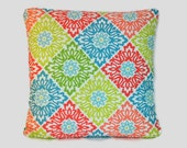 Colorful Diamond Print Pillow Covers. 1 cover for 18x18 insert.  Waverly fabric in teal blue, coral and lime green. Cottage decor coloful