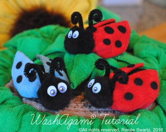 Baby Washcloth Ladybug, washcloth Ladybird, Washcloth Beetle, WashAgami® , Instructional Video and PDF