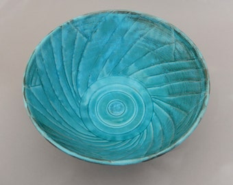 Carved Bowl - Handmade Turquoise and Terracotta Mixing Serving Bowl