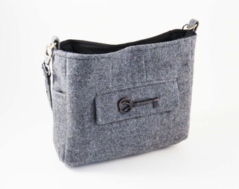 Upcycled GRAY WOOL TWEED Shoulder  Bag / Purse / Lined W Pockets from Upcycled Man's Wool Suit Coat / Great Christmas or Birthday Gift #020