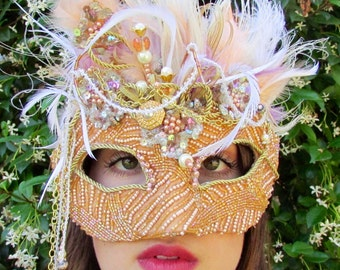 One of a Kind - Soft Peach Masquerade Collectible Mask