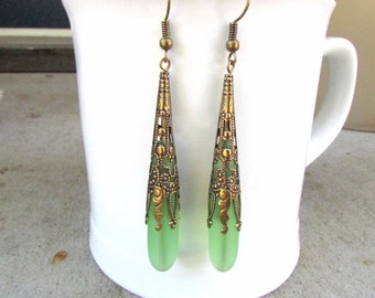 green sea glass extra long earrings  beach glass jewelry  bridesmaid earrings- teardrop  antique bronze