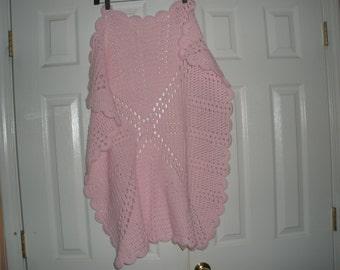Hand Knitted Baby Girl pink Blanket, Super Soft blanket