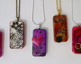 Warm Colored, Domino Necklaces, Altered Domino, Altered Art Domino, Altered Art Jewelry, Recycled Domino, Upcycled Domino, Domino Jewelry