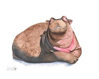 Hippopotamus print of watercolor painting, H10116. 5 by 7 size print, Hippopotamus watercolor painting, nursery print, african animal print