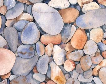 Rocks watercolor painting, Original watercolor painting, coastal decor, coastal wall art, beach house wall art, blue and gray wall art