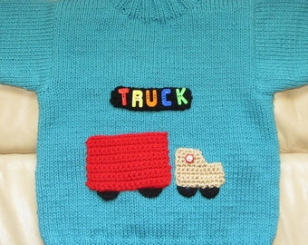 Aqua Original Hand Knit Sweater with Toy Red Truck Pocket - Unisex Child Size 4 to 5 - Back to School Birthday Grandparent Gift - Item 4621