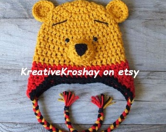 "Winnie the Pooh ""inspired"" Hat w/Earflaps and Braids  (Newborn-3 month / 3-6 month / 6-12 month sizes)"