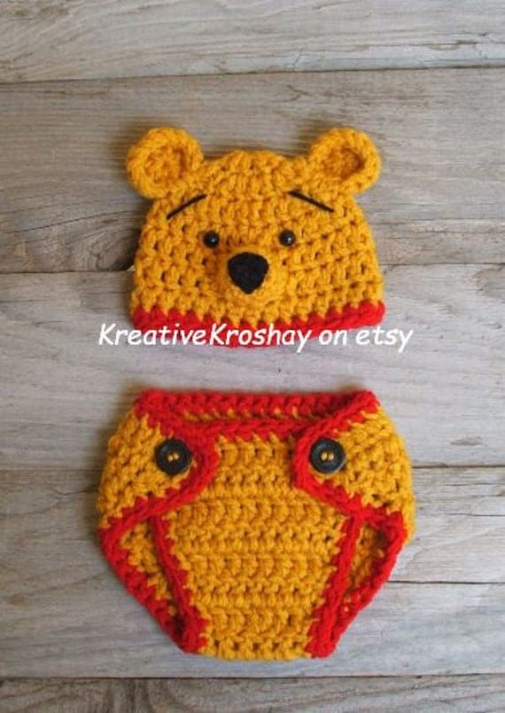 Winnie the Pooh Bear Hat &  Diaper Cover  (newborn-3month size) Inspired by Winnie the Pooh