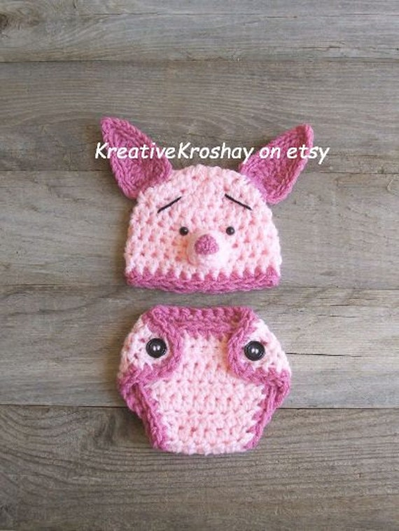 Piglet Hat & Diaper Cover Set, inspired by Winnie the Pooh (newborn / 3-6 month sizes)