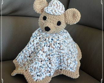 Knitted baby blanket, teddy bear - boy, toy.