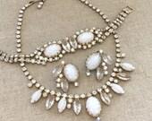 Vintage Rhinestone Necklace Set - White Rhinestone Necklace Bracelet Set - Bridal Jewelry - Rhinestone Parure Bracelet Earrings Set
