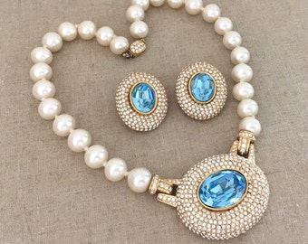 Statement Rhinestone Necklace Set, Signed CINER Demi Parure, Necklace Earrings Set, Pearl Necklace, Rhinestone Clip On Earrings, Runway