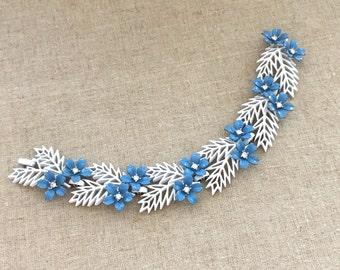 Vintage TRIFARI Enamel Bracelet - Blue Flower Enamel Bracelet - 1950s Trifari Rhinestone Bracelet