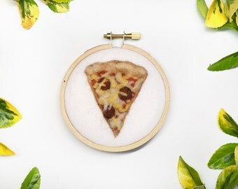 Pepperoni Pizza Slice - Needle Felted Wool Painting - 3 Inch Hoop