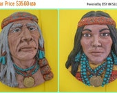 on sale Native American Sculptures, Wall Art, 70s Art, 1970s Vintage, Turquoise Jewelry, Native Inspired,Set of Two Wall Hangings,J Zizzo Ar