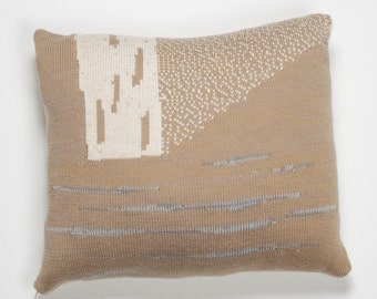 SALE -75%  White vista cushion with knitted jacquard pattern in grey and white mix and warm white speckled yarn