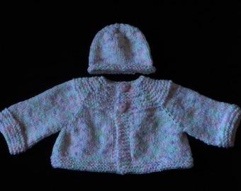 Baby Girl Sweater Jacket, Hat, Blanket & Teddy Bear