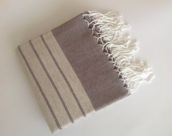 Organic Bamboo Turkish Towel, Peshtemal, beach, bath towel, spa, hammam, Natural Soft, Elegant Brown Striped, valentine's day, gift, for her