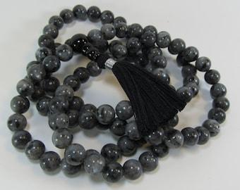 Mala - 8mm black labradorite 108 beads buddhist mala - yoga jewelry - tassel necklace