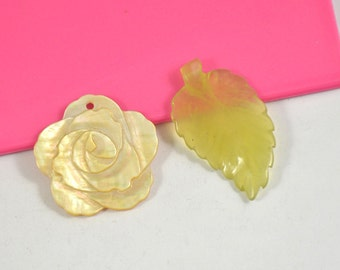 2Beads Charm Carved Leaf Jasper Beads, Carved Flower Shell Bead, Yellow Mop, mother of pearl Loose Gemstone beads ,Fit your Handmade Jewelry