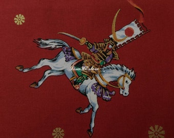 Japanese horseman, gold metallic, red, fat quarter, pure cotton fabric