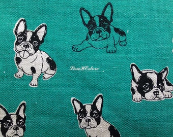 Black bulldog, teal, 1/2 yard, cotton linen blended fabric