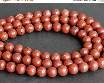 CLEARANCE SALE - Red Brecciated Jasper Round Beads 10mm - FULL Strand (15 Inches)