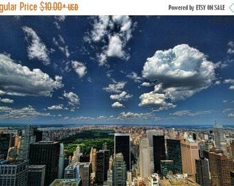 SALE 20% OFF New York City Photograph, Sky Over Central Park, Manhattan, Landscape Photograph, Color, Clouds, Urban, HDR, Art Print, Home De