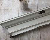 Vintage Wooden White Chippy Shelf, Architectural Crown Molding, Shabby Cottage Primitive Farmhouse Decor