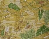 EDO ERA Village   Vintage Japanese Kimono silk sketched dyed detailed   14 x 72 inches