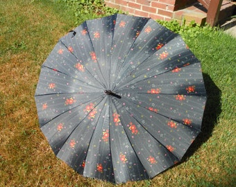 CHERRY BLOSSOM  Vintage Japanese water resist Umbrella parasol with finial dyed Floral  Black, Orange, Yellow, White