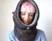 Wool cowl hood, chunky knit snood, Snock®, hooded cowl womens mens in outer space style mottled wool lined with faux lamb