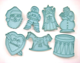 Vintage Stanley Home Blue Cookie Cutters - Astronaut / Spaceman, Rocking Horse, Drum, Snowman, Angel, Santa, Valentine Heart