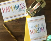 Hello Sunshine Note cards - Individual or Set of 4 - Perfect for Any Occassion