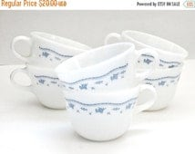 vintage morning blue milk glass pyrex/corning ware set of 6 coffee tea cups