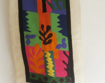 Vintage Henri Matisse inspired wall art / La Vis / Needlepoint Art  / Vintage Wall Art