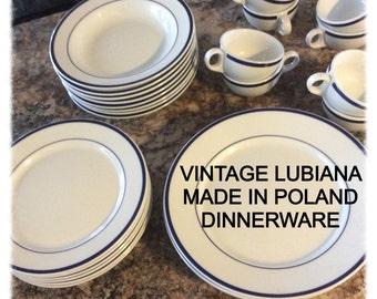 VINTAGE LUBIANA POLAND Polish restaurant ware set