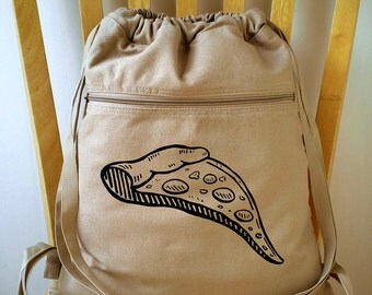 Pizza Backpack Laptop Bag Canvas School Bag Gym Bag