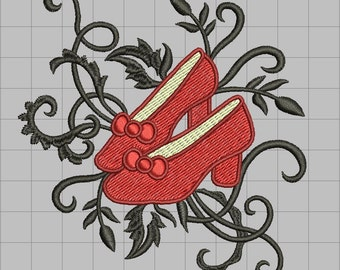 Embellished Ruby Slippers Machine Embroidery design