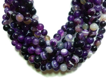 Purple Agate -  8mm Round Bead - Banded or Striped - 46 beads - Full Strand - Grape Violet - Purple, Black and White Stone