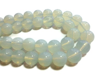 Opalite - 14mm Round Bead - Full Strand - 30 beads - Opal Glass - Moonstone Glass - Sea Opal - Glowing - iridescent