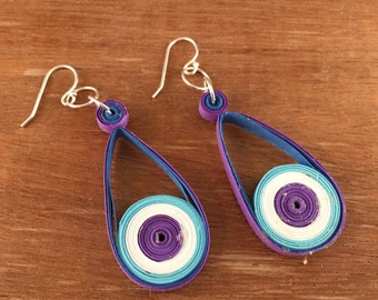 Paper Quilled Earrings Blue and Purple Earrings, quilling earrings, quilled jewelry, quilling earrings, eco friendly earrings, paper jewerly