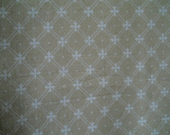 "Laura Ashley Fabric 2 Yards Width 48"" Light Tan With Diagonal  White Cross-Hatching  Forming a Star/ Cross Cotton Fabric Sewing Supplies"