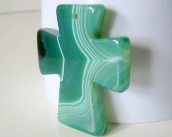Gorgeous Green Onyx Agate Cross Pendant,4.9x3.9cm, Jewelry Supplies