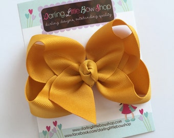 """Mustard Gold Bow, Mustard Gold Hairbow -- choose 3"""" 4"""" 5"""" or 6"""" bow -- AMAZING quality handmade in Tennessee -- match for Matilda Jane"""
